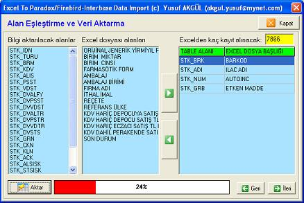 Interbase/Firebird/Paradox Data Import programı